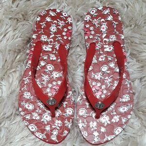 Coach Abbigail Red Floral Flip Flops